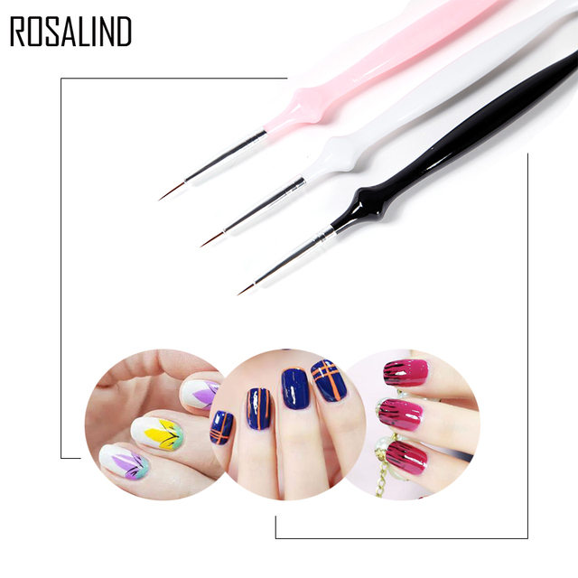 Rosalind 3pcslot Nail Gel Pens Brushes For Manicure Nails Polish