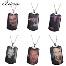 лучшая цена Johnny Hallyday Charm Pendant Necklace Personalized Custom Photo Necklaces for Women Men Stainless Steel Silver Chain Jewelry