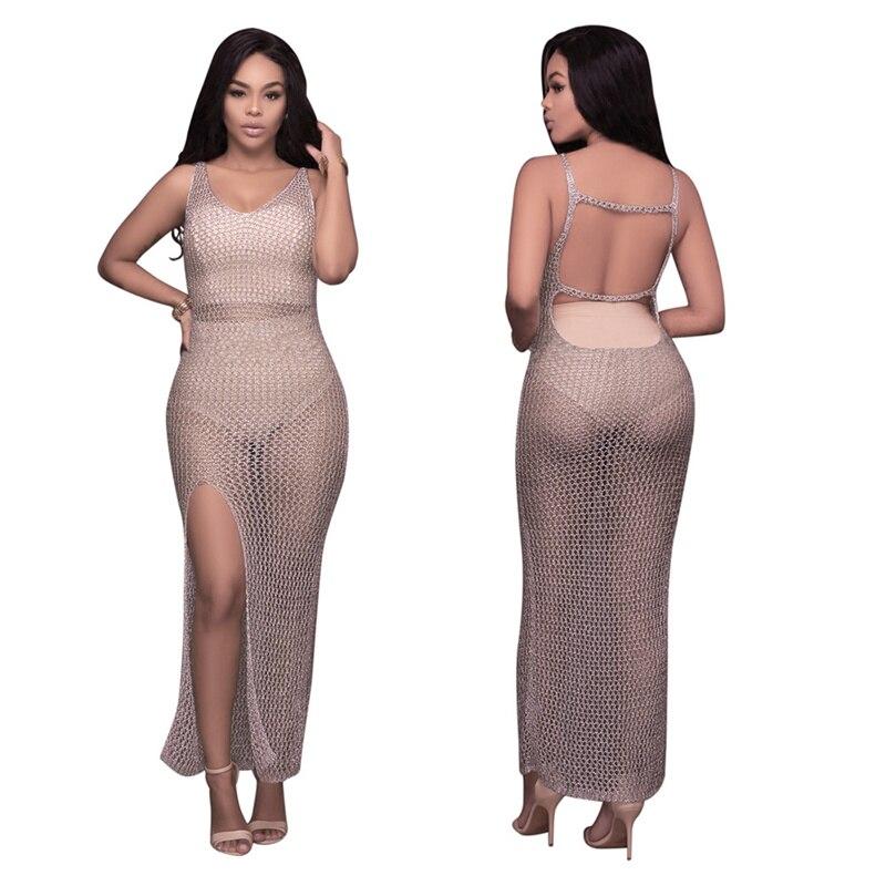 Sexy Club Dresses 2017 font b New b font Arrival V Neck Hollow Out Split Boho