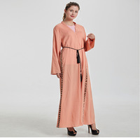 Muslim Beading Abaya Cool Linen Cardigan Maxi Dress Long Robe Gowns Tunic Kimono Middle East Ramadan Dubai Arab Islamic Clothing