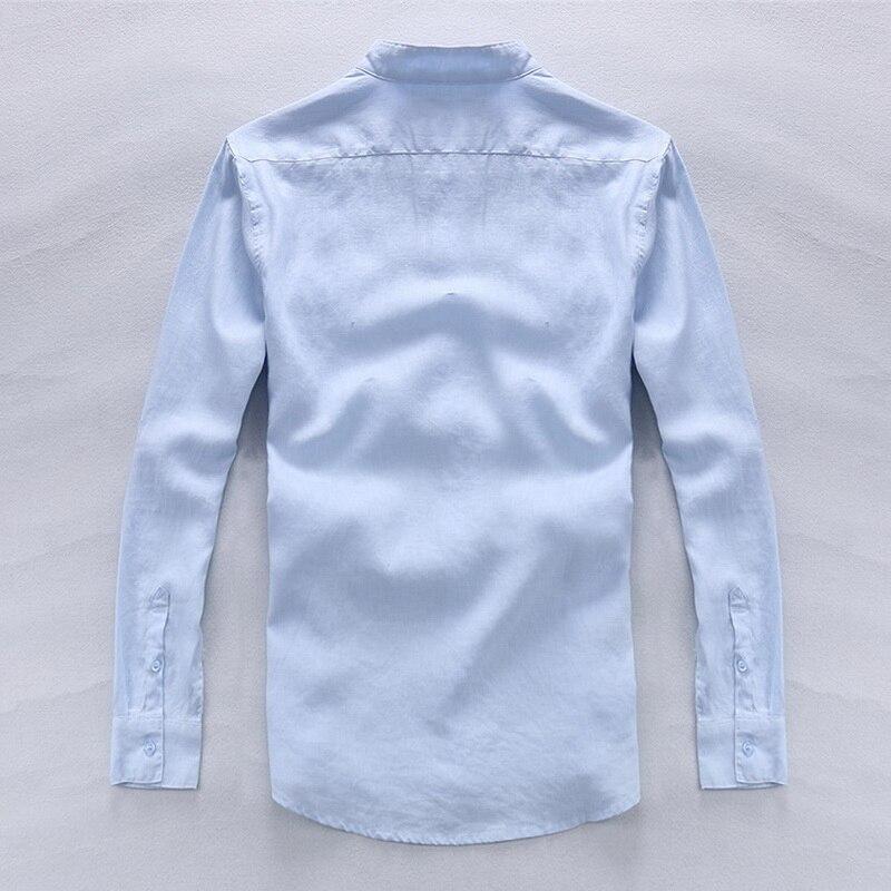 100% Lino Camisas azules de gama alta simples Hombres Lino de manga - Ropa de hombre - foto 2
