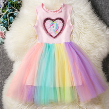 Vgiee Kids Dresses for Girls Cotton Summer Unicorn Dress Baby Girl Clothes and Wedding Party Children 2019