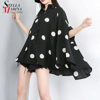 New Korean Style 2019 Women Fashion Black White Blouse Shirt Polka Dot Printed Batwing Sleeves Female Stylish Blouses Femme J685