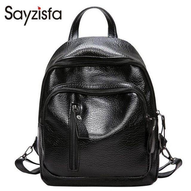 af7e6c563b5 Sayzisfa Women Backpack Leather 2018 New Fashion Bag College Preppy School  Bags Girls Backpacks Casual style Shoulder Bag T654