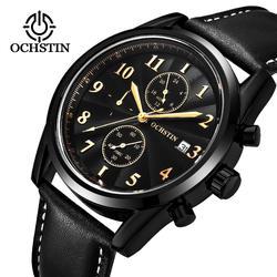 OCHSTIN хронограф повседневное часы для мужчин Элитный бренд кварцевые Военная Униформа спортивные часы пояса из натуральной кожи для мужчин