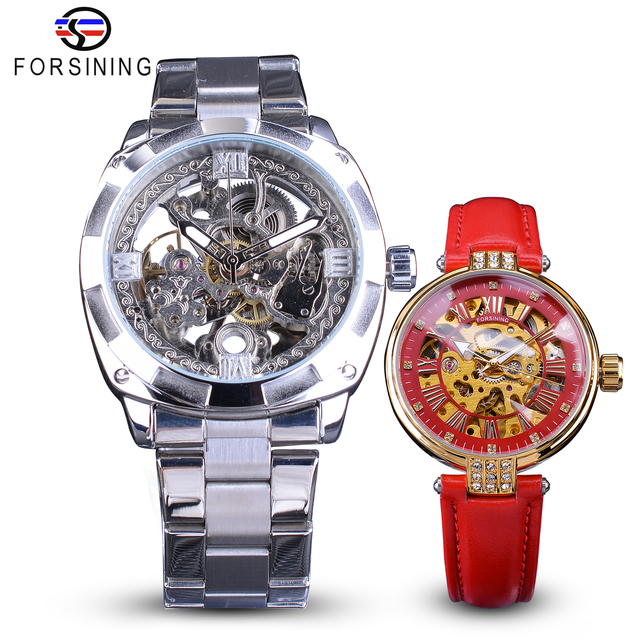 Forsining זוג שעון סט שילוב גברים כסף אוטומטי שעונים פלדה/ליידי אדום שלד עור מכאני שעוני יד ומתנות
