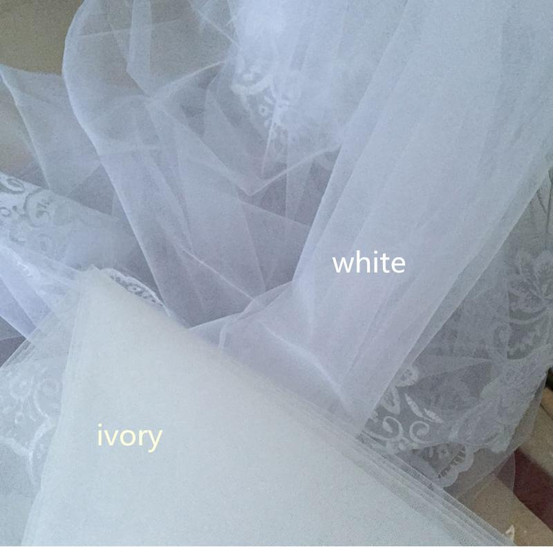 2017 Elegant Wedding Veil 3 Meters Long Soft Bridal Veils With Comb One-layer Ivory White Color Bride Wedding Accessories 8