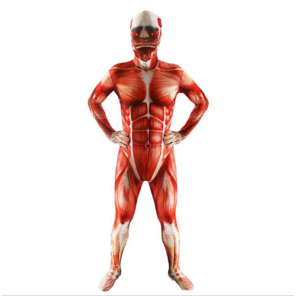 NEW Attack on Titan cosplay Costumes Spandex Skin Tight Suit Adult Colossal Prop Tight Muscle Man halloween men costume Bodysuit