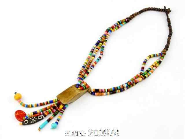 TNL162  Tibetan colorful Rainbow Yak bone beaded necklace,multi strands statement,ethnic fashion Bohemian necklace