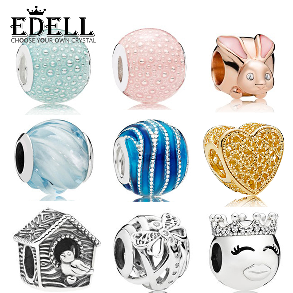 EDELL 100% 925 Sterling Silver New Charm Blue Swirl Bird House Princess Smiley Rose Gold Bunny Pink Green Bubble Beaded