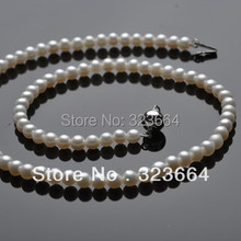 Hot Sell ! Lovely 6-7mm white AAA pearls necklace Silver clasp jewelry