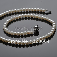 Hot Sell ! Lovely 6 7mm white AAA pearls necklace Silver clasp jewelry