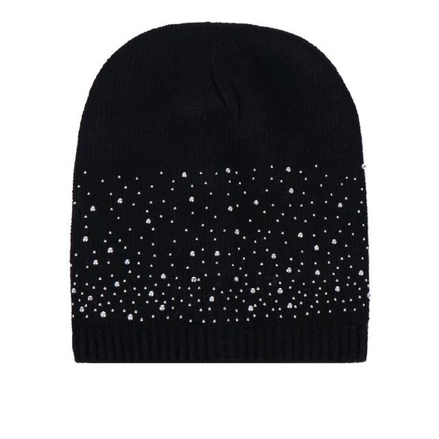 2019 חדש כובע מותג למבוגרים נשים להתחמם חורף יהלומי פרווה סרוג צמר כפת המהומים כובע כובע באיכות גבוהה