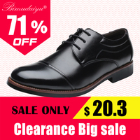 BIMUDUIYU Plus Size 38 48 PU Leather Oxford Shoes Comfortable Insole Lacing Business Dress Shoes Round Toe Man Wedding Shoes Men