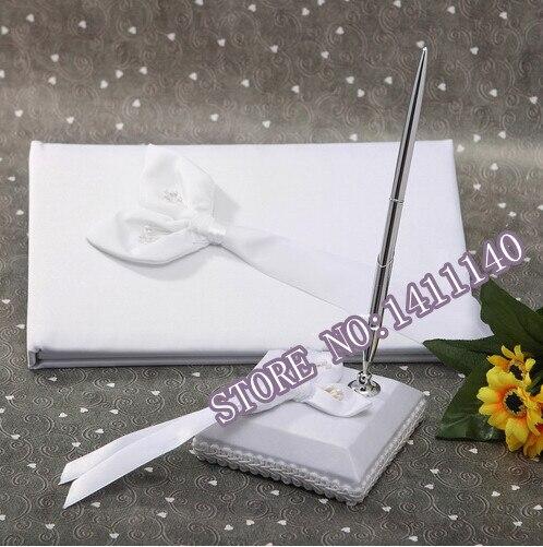 Groothandel Calla bruiloft Gastenboek en Pen met Pen Houder voor Bruiloft Benodigdheden Decoraties