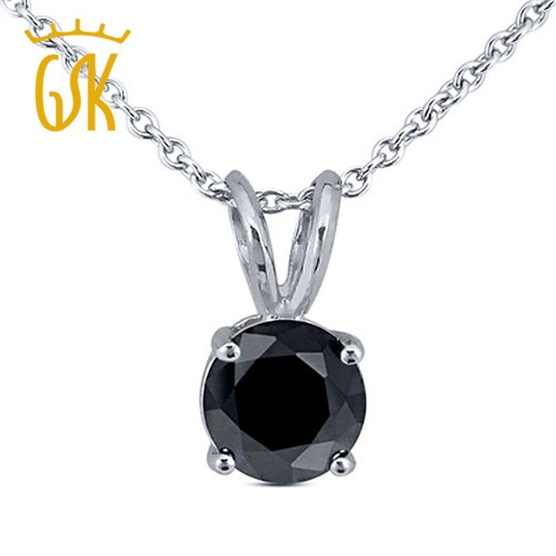 GemStoneKing 925 Sterling Silver Solitaire Pendant 0 15ctw Round Black Natural Diamond Pendant Necklace Fine Jewelry