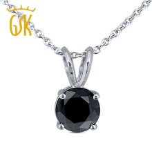 GemStoneKing 925 Sterling Silver Solitaire Pendant 0.15ctw Round Black Natural Diamond Pendant Necklace Fine Jewelry For Women