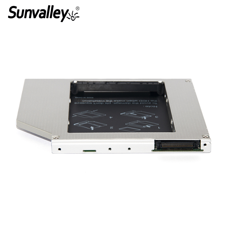 Sunvalley Hard Drive Case 9.5mm Slim Universal IDE to SATA 2nd SSD Caddy SSD Aluminum DVD/CD-ROM Optical Bay For Laptop universal 9 5mm aluminum 2nd 2 5 sata 3 0 hdd ssd hard drive caddy case bay enclosure for notebook odd cd rom replacement