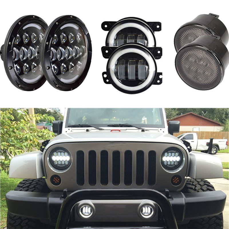 7inch Round LED headlight with DRL Hi/Lo Beam + 4 inch led fog light with angel eyes + Amber turn signal light for Jeep Wrangler 2pcs new design 7inch 78w hi lo beam headlamp 7 led headlight for wrangler round 78w led headlights with drl