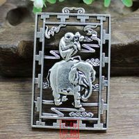 Collection Tibet Silver Round Seal Hou Worship Phase Brand Pendant