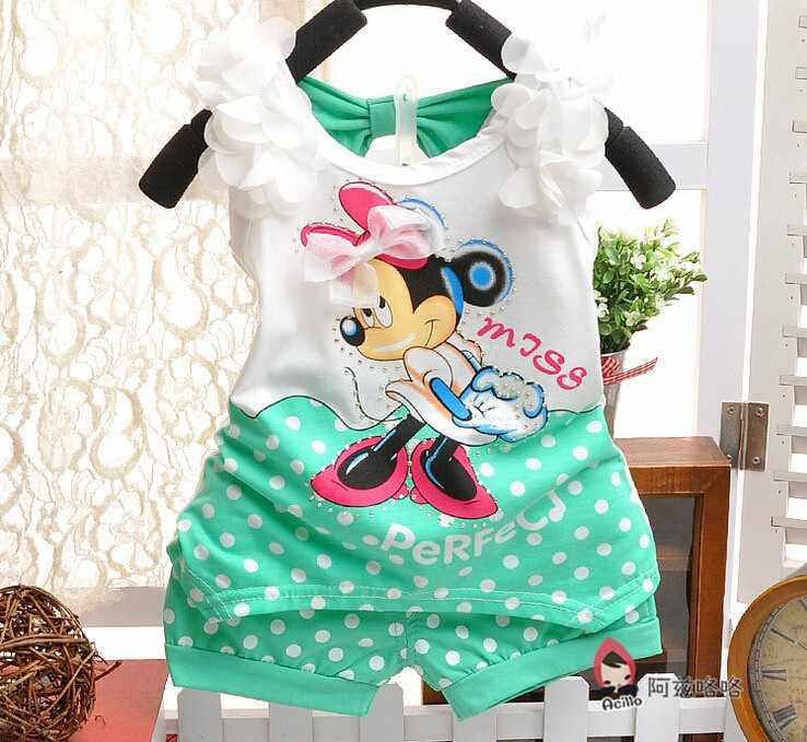 f39d8ad02bb3d 2017 Minnie mouse newborn baby girls summer clothing set infant kids sport  suit clothes set children tracksuit Tshirt+short pant