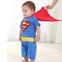 Hot Sale 1pcs Superman Baby Rompers Cloak Toddler Costume Batman Baby Bodysuit Mantle Cap HJ