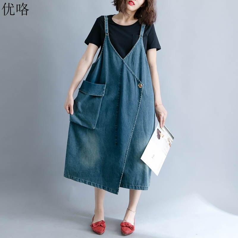 Women Summer Denim Dress Korean Plus Size Sleeveless Long Overalls Jeans Dresses Vintage Female Casual Loose