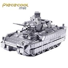 лучшая цена Piececool 3D Metal Puzzle Figure Toy M2A3 BRADLEY IFV TANK Educational 3D Model toys DIY laser cut hand jigsaw Sets For Children