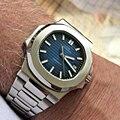 Хит продаж, роскошные Брендовые мужские автоматические механические часы из нержавеющей стали, светящиеся наручные часы patek AAA nautilus 2019