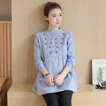 64911f1da 2016 Maternidad blusa Vestidos ropa embarazo Tops Camisetas Tees ropa azul  manga larga Oficina desgaste ropa