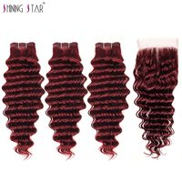 Bold Red 99j Burgundy Deep Wave Brazilian 3 Bundles With Closure Human Hair Extensions With Closure