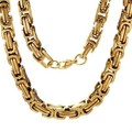 Gold Plated Stainless Steel Bracelets 8mm Byzantine Chain Necklace&Bracelet Mens Jewellery,Wholesale Free Shipping