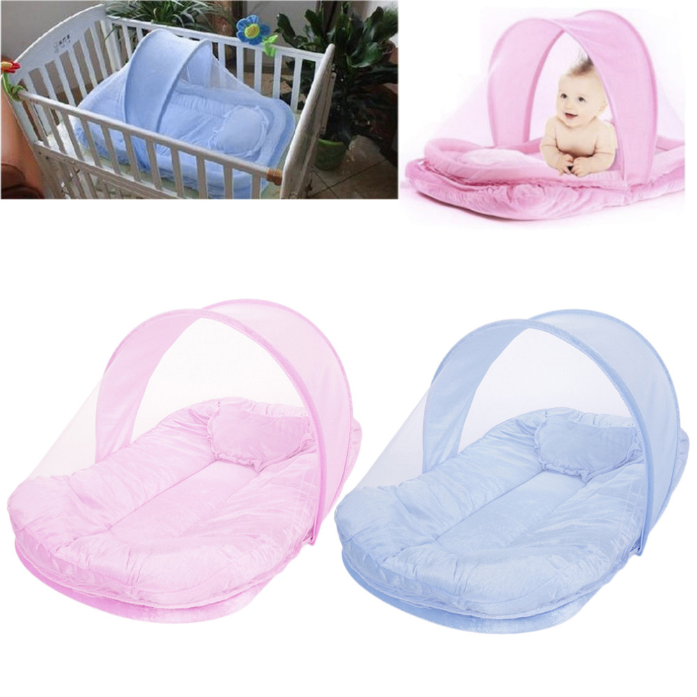 Baby bed camping - 2016 Popular New Sweet Baby Foldable Safety Portable Infant Bed Canopy Mosquito Net With Cotton Padded Mattress Pillow Baby Bed