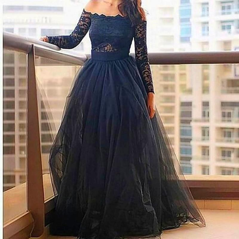 Black Prom Dress Off The Shoulder Boat Neck Arabic Evening Dress Long Sleeve Tulle Lace Top Floor Length Dress for Party(China (Mainland))