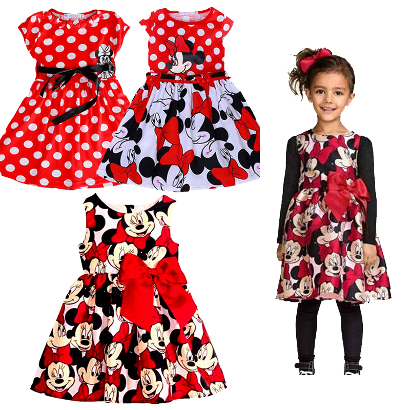 Cartoon Baby Minnie Mouse Girl Dress Clothing birthday Party Princess Dress for Girl Kids Minnie Mouse Baby Clothing Vestido image