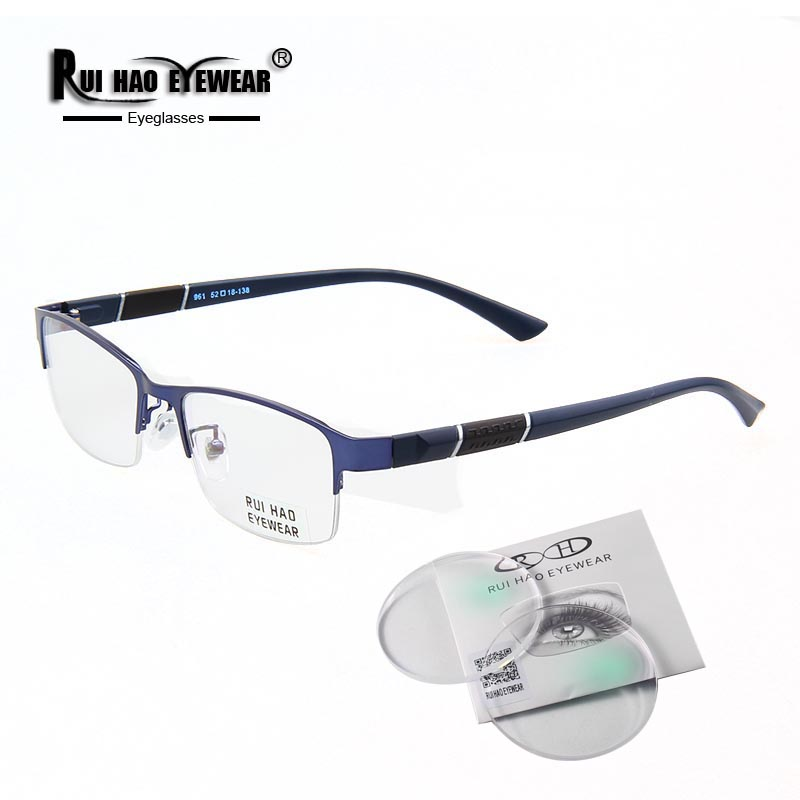 Men Glasses Frame Lenses-Spectacles Myopia Rectangle-Design Progressive 961 Resin