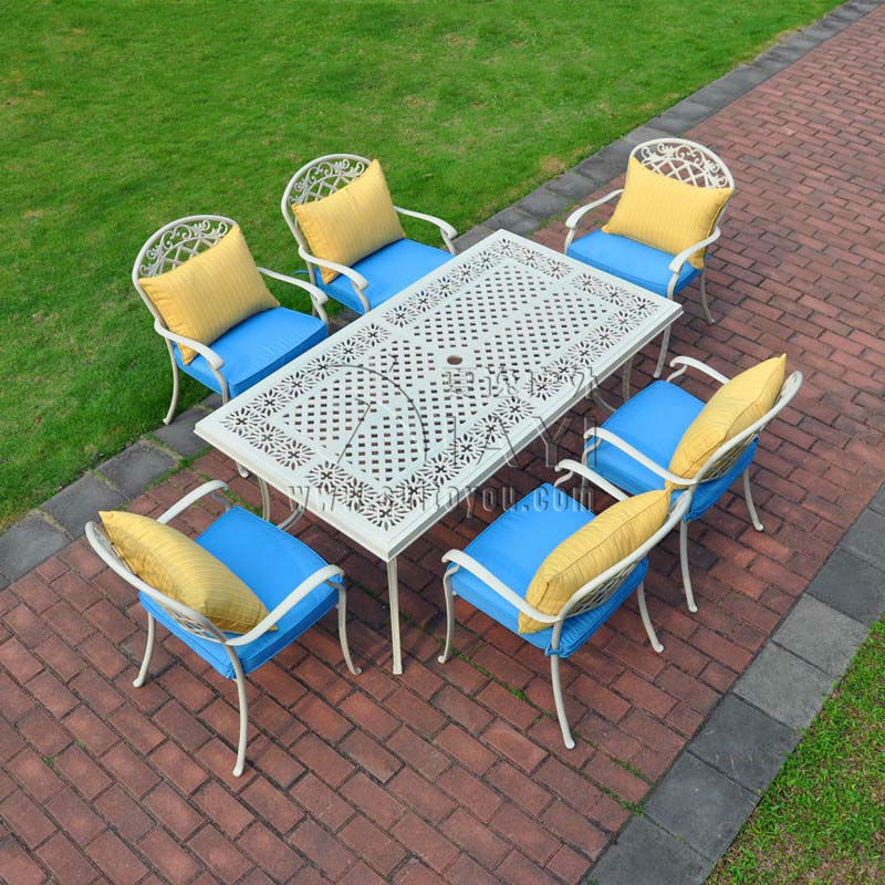 7 piece cast aluminum patio furniture outdoor furniture for Outdoor furniture 7 piece