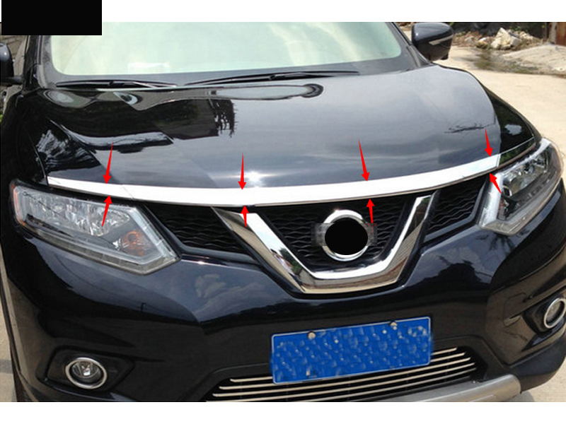 3*ABS Plastic Front Grill Trim Hood lid sticker cover for nissan Rogue x trail 2014 2015 for nissan x trail rogue t32 2014 2015 2016 car trunk lip rear aero add on spoiler wing cover trim pearl white