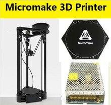 Lo nuevo Micromake 3D Impresora Polea Versión Kit DIY Kossel Delta de Nivelación Automática de Gran Tamaño de Impresión Impresora de Metal 3D