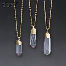 Women Natural Clear Quartz Pendant Necklace Random Size Nuggets Pendulum Bullet Gold Color Choker Chain Crystal Stone Necklaces(China)