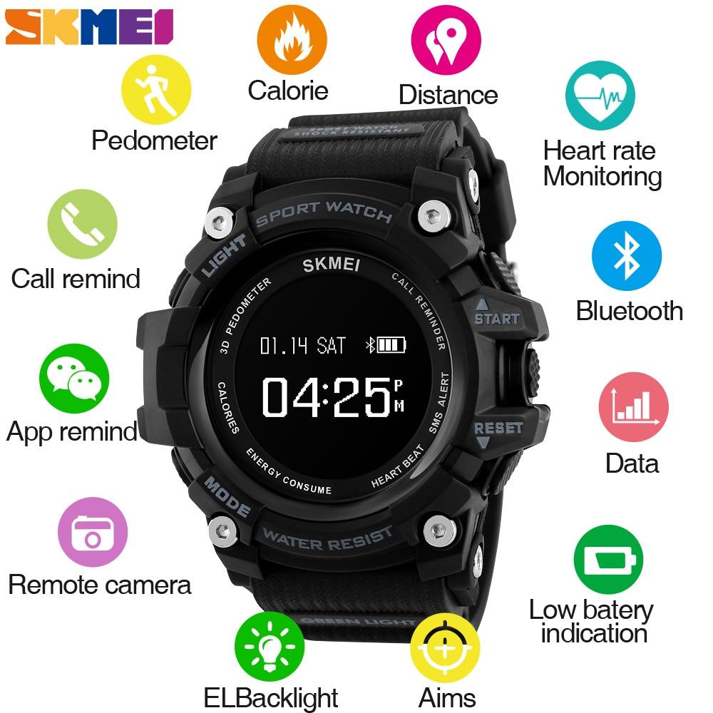 SKMEI Смарт часы для мужчин сердечного ритма Спорт Bluetooth часы Шагомер Калорий Цифровые Наручные Relogio Masculino для ios android