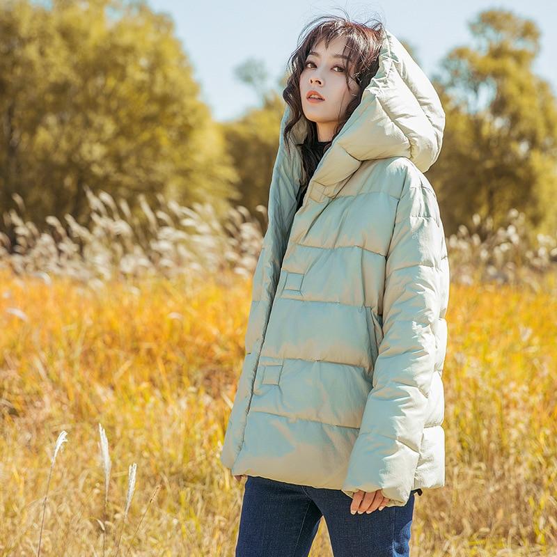 New Korea Chic Wind Female Hooded Loose Ultralight Down Jacket Coat Fashion Literary for Womens Winter Warm Jacket Parka