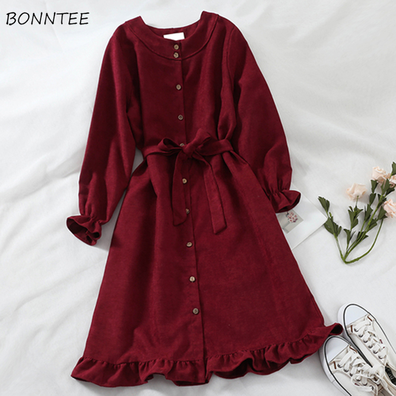 Dress Women Trendy Red Loose Soft High Quality Kawaii Korean Style O-Neck Solid Womens Elegant Long Sleeve Leisure Clothing Chic