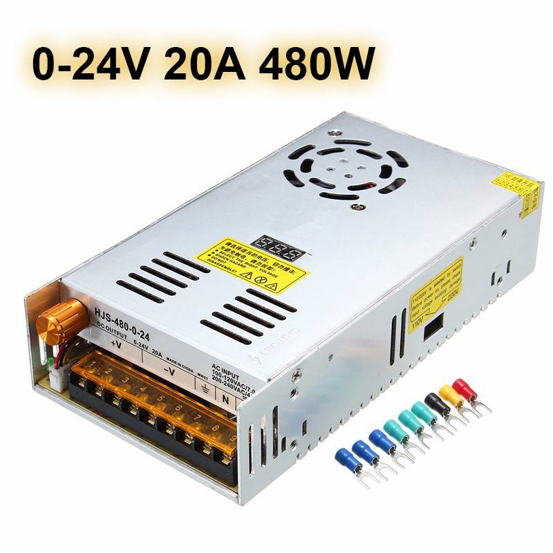 480W AC110/220V To DC 0-24V/0-48V Adjustable Switch Power Supply Adapter LED Lighting Transformer Driver For LED Strips Lights 9pcs power supply for led lights 20a ac 110 260v to dc 12v led power adapter transformer waterproof ip67 led driver 250w