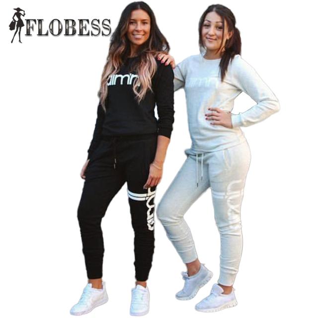 2016 Otoño Invierno Moda 2 Unidades Set Chándal Para Mujer Pantalón Y Letra Impresa Sudaderas Gris/Negro Informal Femenina ropa