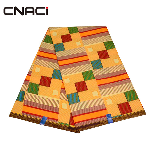 CNACI 2018 New African Fabric Ghana Kente 6 Yards Ghana Fabric African Fashion Kente Cloth Ghana Tissu Patchwork Free Shipping 4