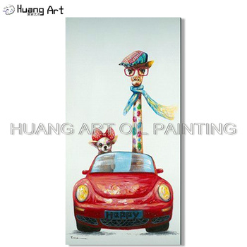 Hand Painted Landscape Oil Painting on Canvas Funny Dog and Giraffe Drive Car Animal Oil Painting for Living Room Wall Art Decor