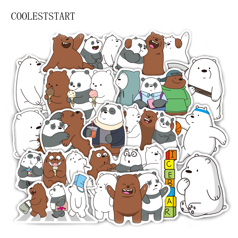 36 Pcs/set Bears Stickers Crtoon Cute Little Bear Sticker PVC Waterproof Graffiti Sticker For Laptop Luggage Toy Car