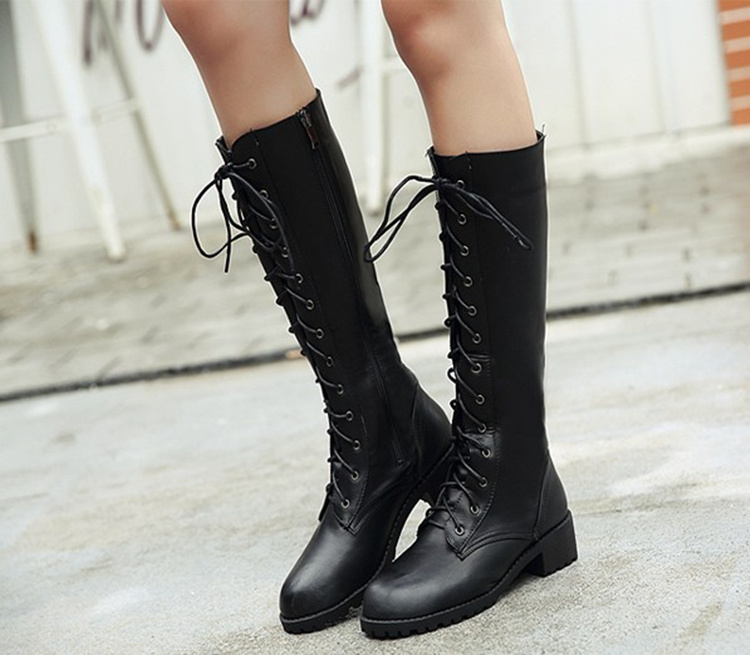 PU leather shoes girls knee high boots