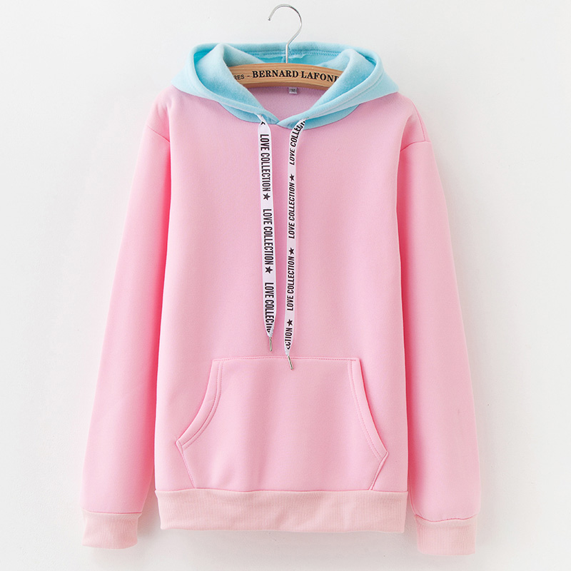 Autumn Fashion Stitching Sportswear 2019 New Warm Fleece Women's Hoodie Casual Pullover Loose Pocket Harajuku Tops Sweatshirt
